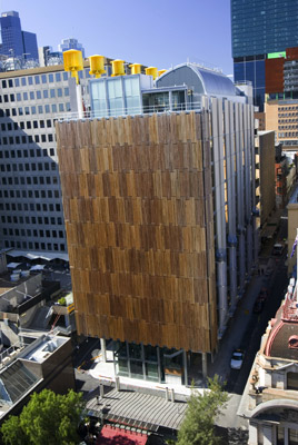The City of Melbourne's Council House 2 (CH<sub>2</sub>) project is the first purpose built office building in Australia to achieve the six Green Star certified rating. CH<sub>2</sub> features sustainable such as a water-mining plant in the basement, phase-change materials for cooling, automatic night-purge windows, wavy concrete ceilings, a façade of louvres (powered by photovoltaic cells) that track the sun. � City of Melbourne.nbnnn