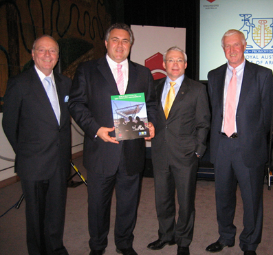 >(L-R) John McCarthy, Chair, Construction Innovation; Hon Joe Hockey, Federal Employment and Workplace Relations Minister, Keith Hampson, CEO, Construction Innovation; Bill Wild, Chair Engineers Australia Taskforce for Construction Safety and Peter Godfrey, National Vice President - Engineering Practice, at the launch of the Guide to Best Practice for Safer Construction