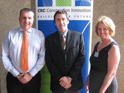 Andrew Borger (left), Director of Leighton Properties Queensland and Director of Green Building Council of Australia was the guest speaker at the Your Building Brisbane workshop. Also pictured are Andrew Carre from RMIT's Centre for Design and Lyn Pearson from</em> Construction Innovation