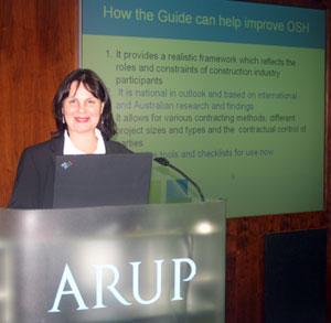 Dr Helen Lingard presenting in Hong Kong
