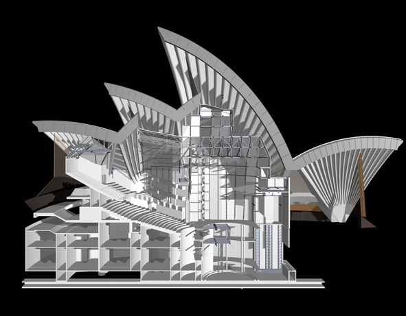 A 3-D CAD example of the visual component of digital modelling at Sydney Opera House, presented as a side elevation. Courtesy Arup